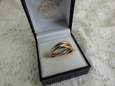 NEW, 9ct Yellow, Rose & White Gold Russian Wedding Band Ring,5.9grams size P
