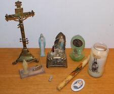 vintage LOT bougie STATUE vierge MARIE maria CROIX boite à musique JESUS CHRIST