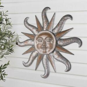 Large Sun Burst Rustic Outdoor Decorative Brown Metal Soleil Wall Art Decor 31""