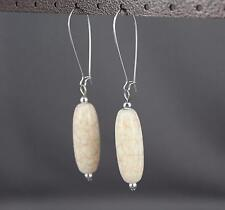 Cream Silver oval bead dangle earrings kidney wire dangly oblong beads