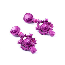 Boucles d`Oreilles Clips Non Percé Chandelier Violet Floral Original J7