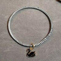 Stock# 173 - Recycled Rubber Black White Stripe Bangle Swan Charm Bracelet