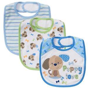 Koala Baby Boy 3-Pack Puppy Bib Set 3 Designs 100% Cotton NEW!