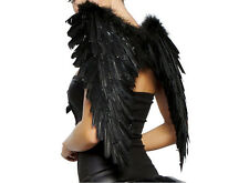 Black Feather Wings Sexy Devil Fallen Angel Fairy Halloween Costume Fancy DressH
