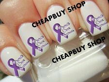 PANCREATIC CANCER AWARENESS》PURPLE RIBBON LOGO》Tattoo Nail Art Decals