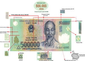 1 MILLION DONG = 2 x 500,000 500000 VIETNAM POLYMER CURRENCY BANKNOTES UNC VND