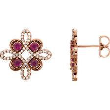 Ruby & 1/4 ct. tw. Diamond Earrings In 14K Rose Gold
