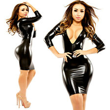 Sexy Women's Wet Look PU Leather Mini Dress Bodycon Fitted Black Fetish Clubwear