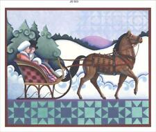 """ONE HORSE SLEIGH"" COTTON PANEL ~ ARTWORK OF JIM SHORE #503"