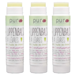 Bio Lippenbalsam Teebaum Lippenpflege-Stift mit Teebaumöl 3er Pack
