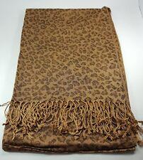 New Women Scarf Lady Shawl Wrap Long Scarf Stole Leopard Tassel Brown Scarf MIT