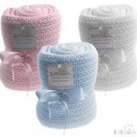 Baby Shawl Blanket 100% Cotton Baby Blanket Pram Cot Blanket White Blue Pink