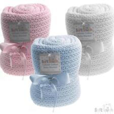 New Baby Shawl Blanket 100% Cotton Baby Blanket Pram Cot Blanket White Blue Pink