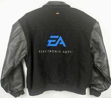 EA Mens Size 2XL Black Blue Varsity Wool Leather Jacket Electronic Arts Games