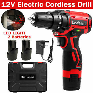 Cordless Drills Driver Power Tool Kit Rechargeable Electric 2 Batteries Set LED