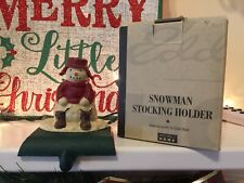 MIDWEST Eddie Bauer SNOWMAN Solid Cast Iron CHRISTMAS STOCKING Holder Hanger