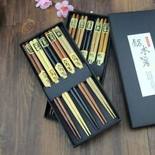 10 Pair Japanese Wooden Chopsticks Reusable Classic Gift Box