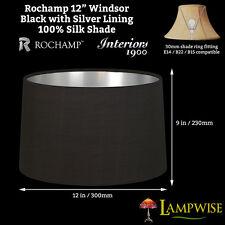 Interiors 1900 Rochamp Windsor 12in Oval Drum Black/Silver Silk Shade