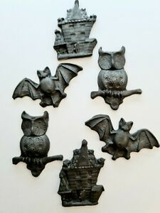 Edible Sugar Haunted Houses, Bats and Owls in Black, Halloween Cupcake Toppers,