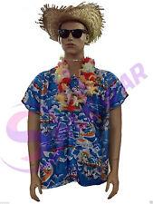 Mens Hawaiian Shirt Stag Beach Luau Hat Tropical Glasses Fancy Dress Costume Top Lei One Size