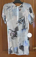 BNWT Aussie Designer SARA PHILLIPS New York Printed Sheer Silk Chiffon Dress sz8