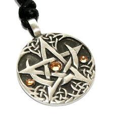GOLD TOPAZ November Birthstone PENTAGRAM Pewter Pagan PENDANT, Swarovski Crystal