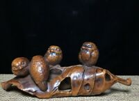 Collect Boxwood Japanese carved Lucky birds in the bird's nest Statue figurine