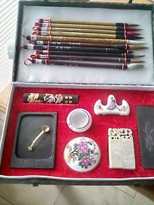 Sumi -e japanese ink painting kit, with brushes, ink stones, stamps. Never used.