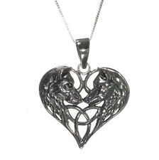 New Sterling Silver 925 Wolf Heart Pendant Necklace in Gift Box Lisa Parker