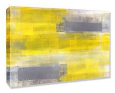 YELLOW GREY ABSTRACT B CANVAS WALL ART ARTWORK 30MM DEEP FRAMED PRINT