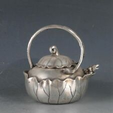 CHINA ANTIQUE TIBETAN SILVER HAND CARVING LOTUS FROG TEAPOT WINE POT