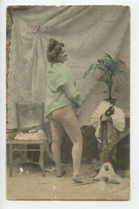 c 1910 Vintage Risque Nude French REAR VIEW LADY roto photo postcard