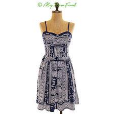 NWT BAND OF GYPSIES PRINTED SPAGHETTI STRAP SMOCKED SHORT DRESS BLUE SMALL B59