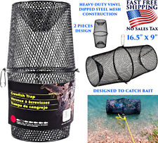 FISHING BAIT TRAP SHINER MINNOW CRAWFISH SHRIMP METAL CAGE LURE CATCHER NET NEW