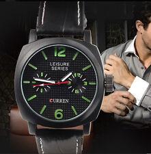 Rebajado Curren Leisure Series Reloj militar agujas luminiscentes correa de piel