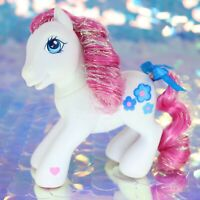 My Little Pony BLOSSOMFORTH White Pink Tinsel Hair Blue Flowers G3 MLP BO860