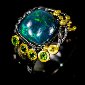 4ct+ Super Top AAA+ Black Opal Ring Silver 925 Sterling  Size 8 /R178433