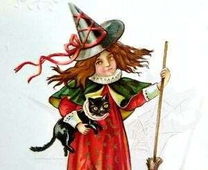 Halloween Postcard Nash Witch Holding Black Cat Embossed Original Unused Vintage