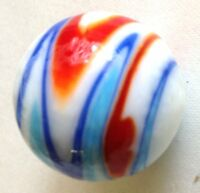 "Glass Marbles Game Shooters 1"" - 10 pcs Handmade Glass Wht w/color swirls"