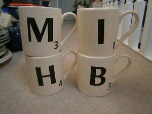 "4 LARGE SCRABBLE LETTER MUGS ""B"" ""M"" ""I"" ""H"" WILD & WOLF BRAND NEW UNUSED BNWT"