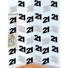 6 x 7ft Long Age 21 / 21st Birthday Black & Silver Foil 21's Party Decorations