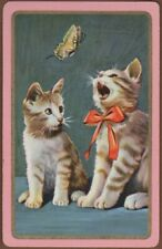 Playing Cards 1 Single Card Old Vintage KITTENS CATS + BUTTERFLY Kitten Cat Art