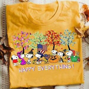 Sn00py Happy Everything Halloween Thanksgiving Christmas Tshirt Women