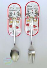 Disney Mickey Minnie Mouse Stainless Steel Dessert Spoon and Fork JAPAN Quality