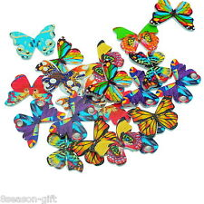50pcs Mix Butterfly Pattern Wooden Buttons Fit Sewing and Scrapbook 28x20.8mm