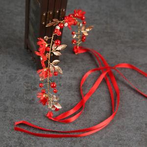 Gold Leaf Daisy Flower Headband Bridal Pearl Tiaras Hair Jewelry Ribbon Wre  YK