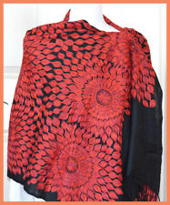 Red Embroidered 100% Wool Black Color Shawl Wrap from India