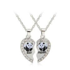BEST FRIEND Panda Heart Silver Crystal Tone 2 Pendants Necklace BFF Friendship