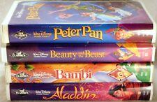 LOT 4 DISNEY VHS BLACK DIAMOND Beauty & the Beast/Bambi/Aladdin/Peter Pan