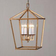 Vintage Brass Geometric Cage 4-Light Kitchen Pendant Light Foyer Ceilig Lamp Fit